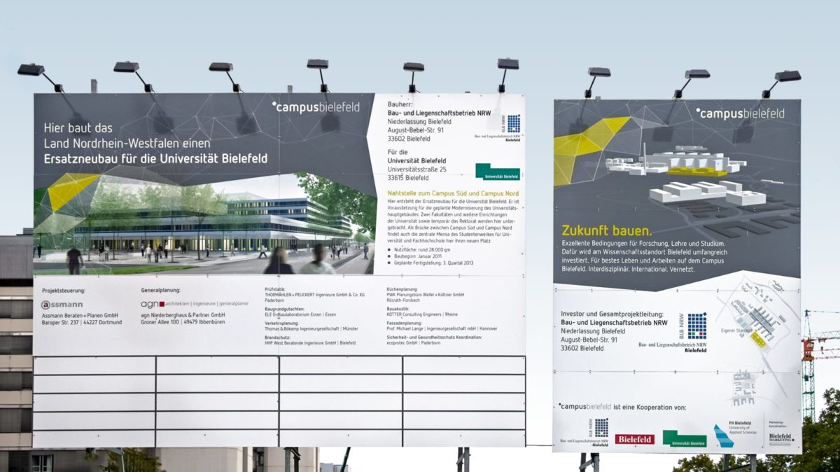 Campus Bielefeld Corporate Design Bauschild