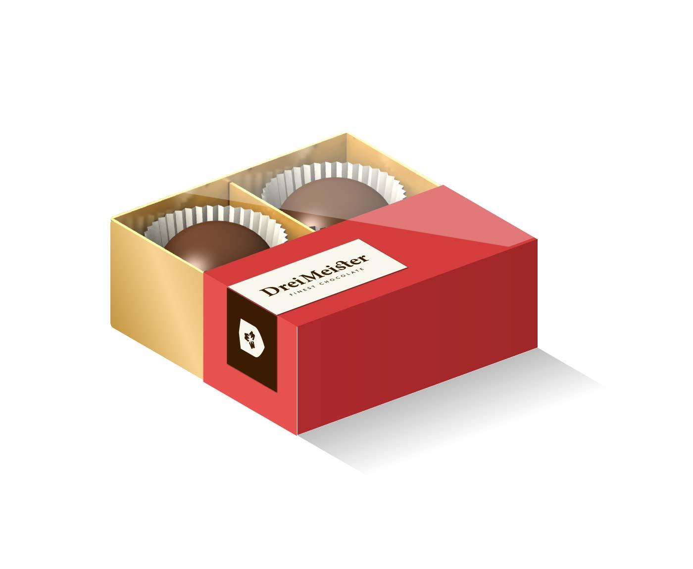 Drei Meister Schokolade Praline Verpackung