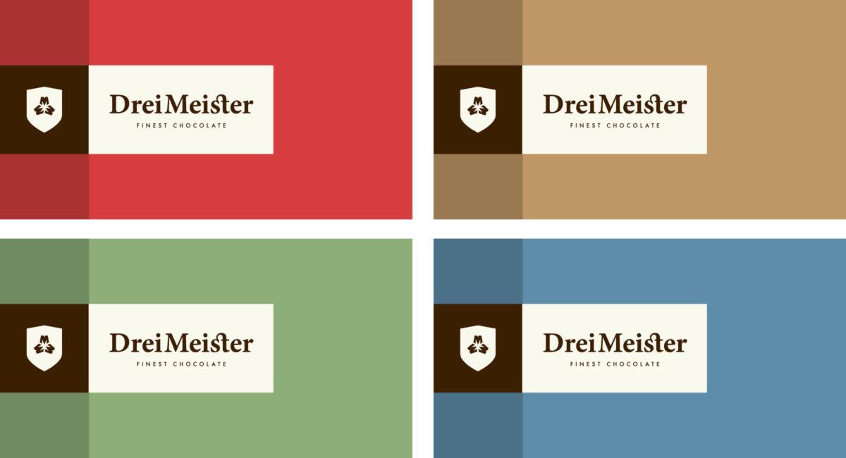 Drei Meister Schokolade Farbkonzept