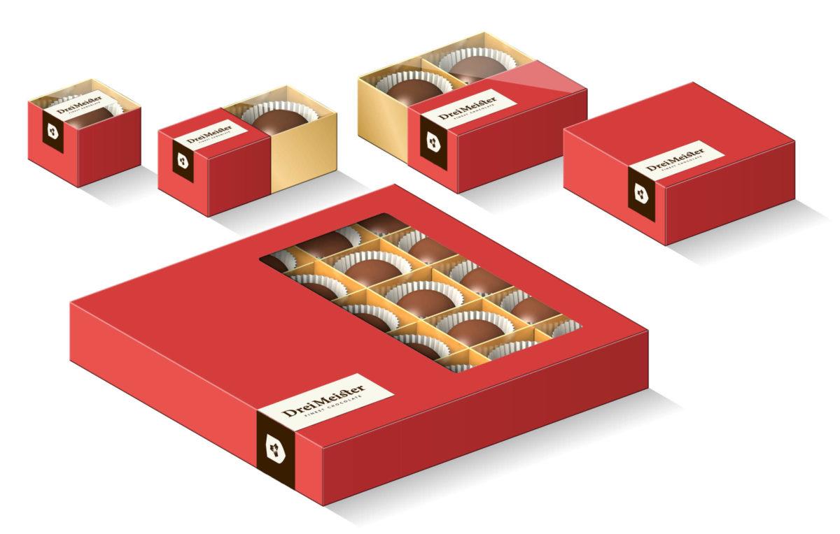 Drei Meister Schokolade Verpackungen