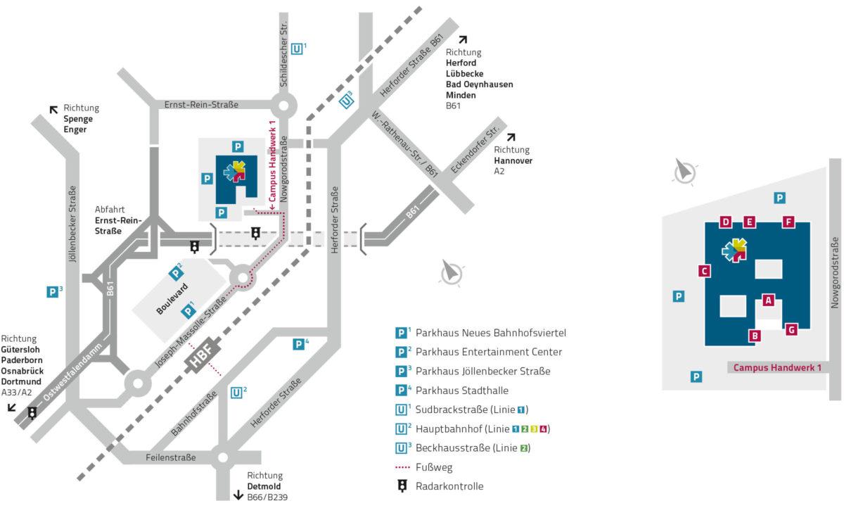 Lageplan Handwerkskammer Ostwestfalen-Lippe zu Bielefeld