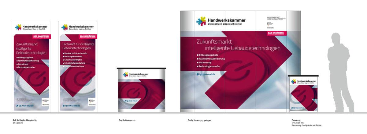 Messesystem für die Handwerkskammer Ostwestfalen-Lippe zu Bielefeld. Bestehend aus Roll Up Displays, Pop Up Counter, Messewand und Counter.