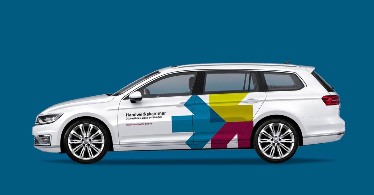 Corporate Design der Handwerkskammer Ostwestfalen-Lippe zu Bielefeld: Fahrzeugbeschriftung