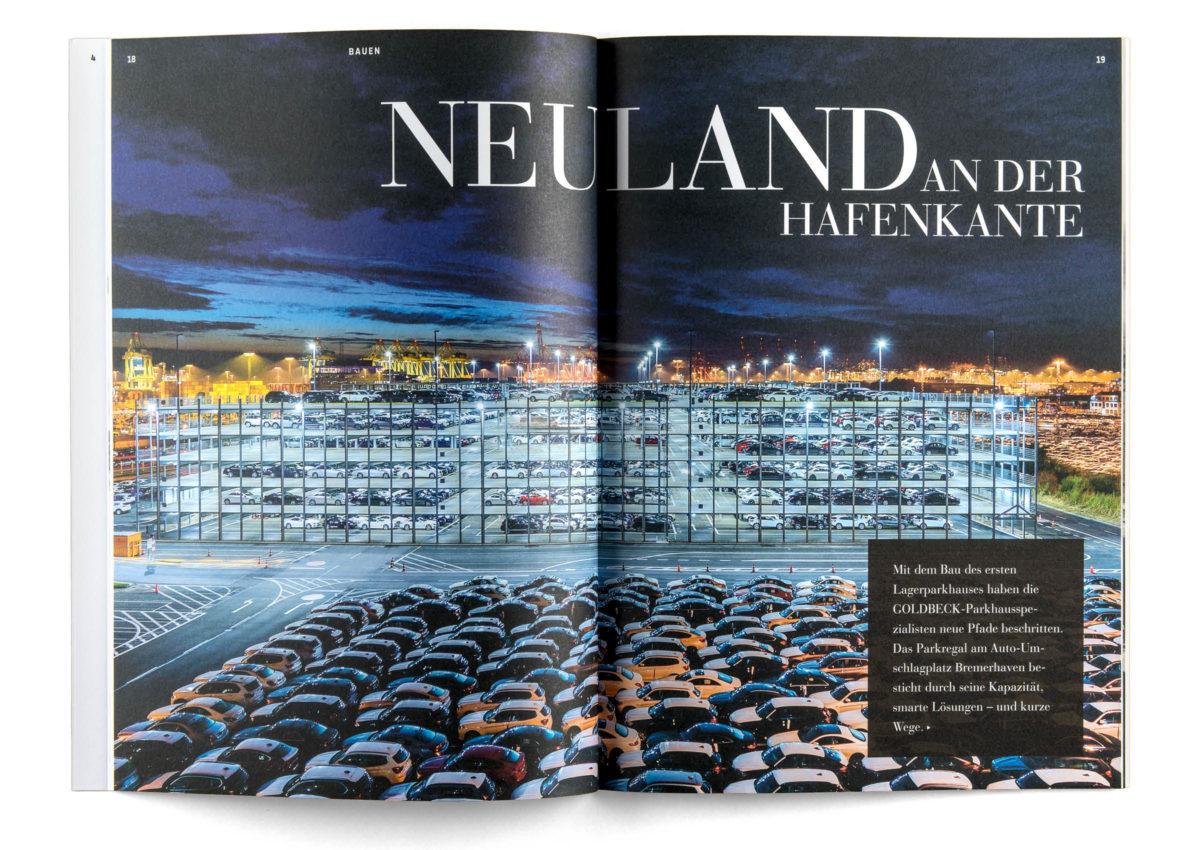 bau|zeit Magazin: Gestaltung einer Doppelseite mit Vollbild.