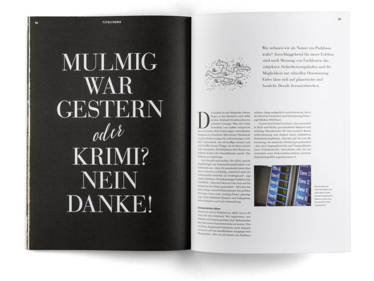 bau|zeit Magazin: Gestaltung einer Doppelseite