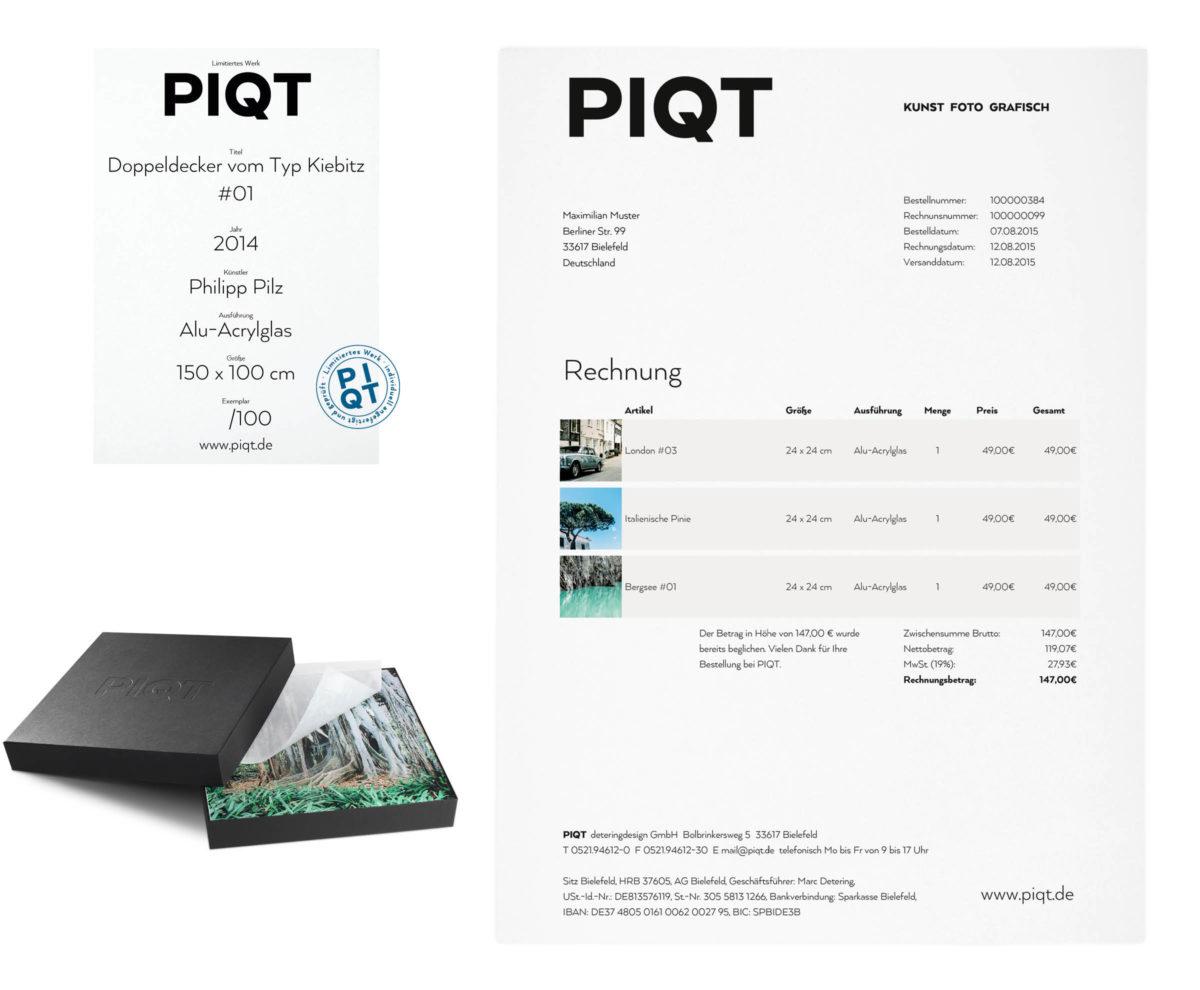 PIQT Webshop für Fotokunst Rechnung, Zertifikat, Geschenk