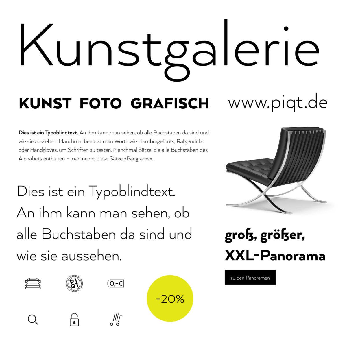 PIQT Webshop für Fotokunst Typografie