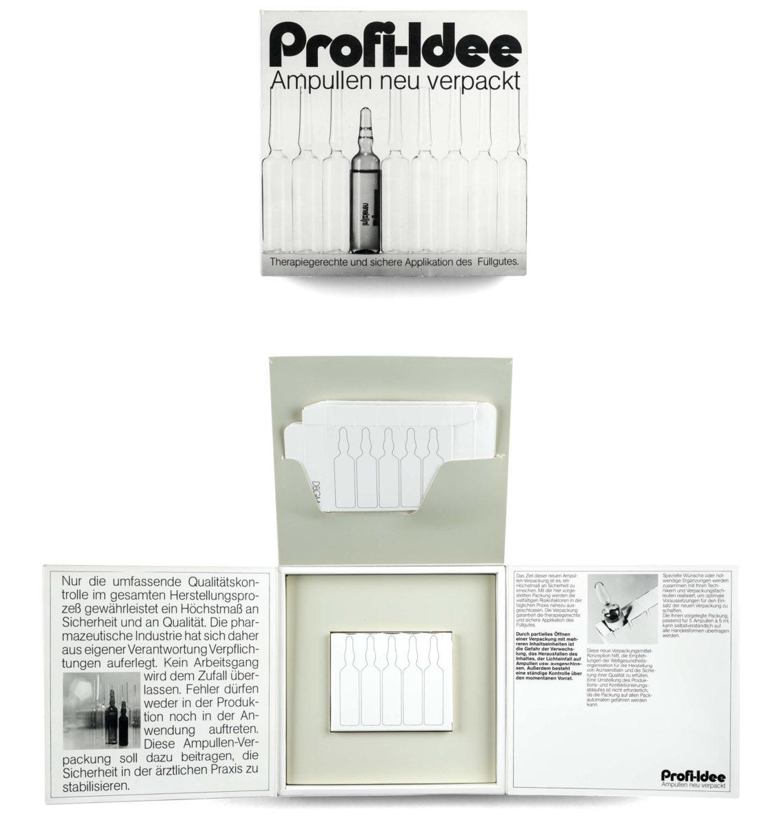 Ampullen neu verpackt, Verpackungsdesign für ein Arzneimittel von 1972