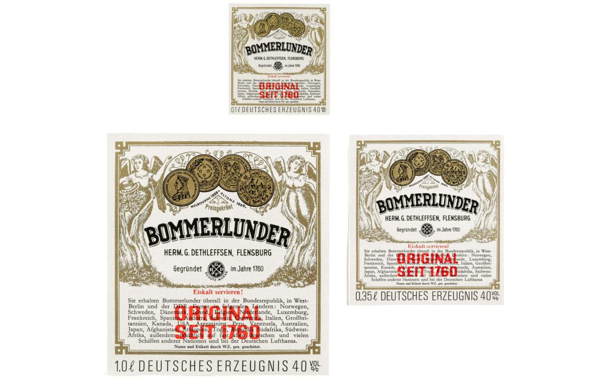 Bommerlunder Design 1969 Etiketten