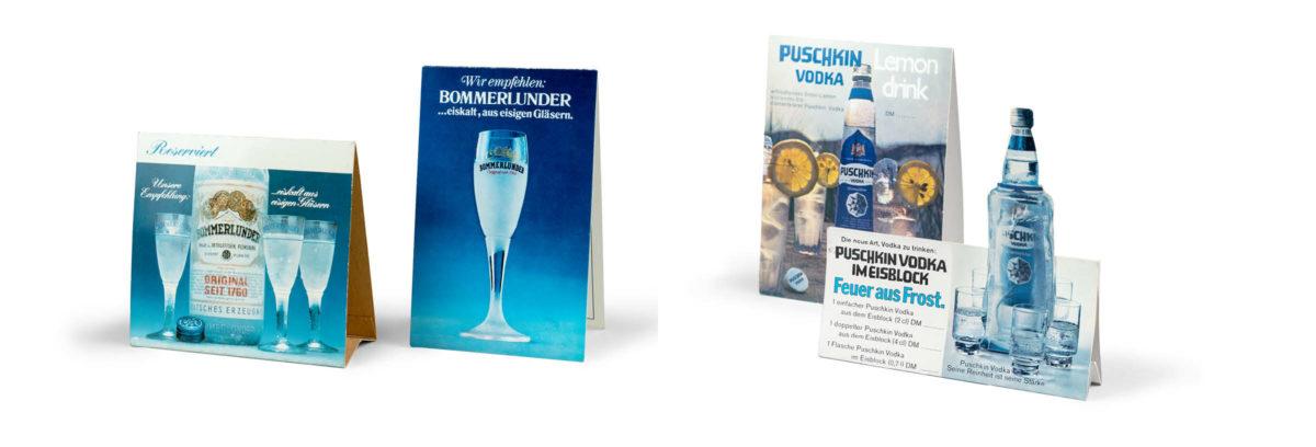 Bommerlunder und Puschkin Vodka Aufsteller, Historisch