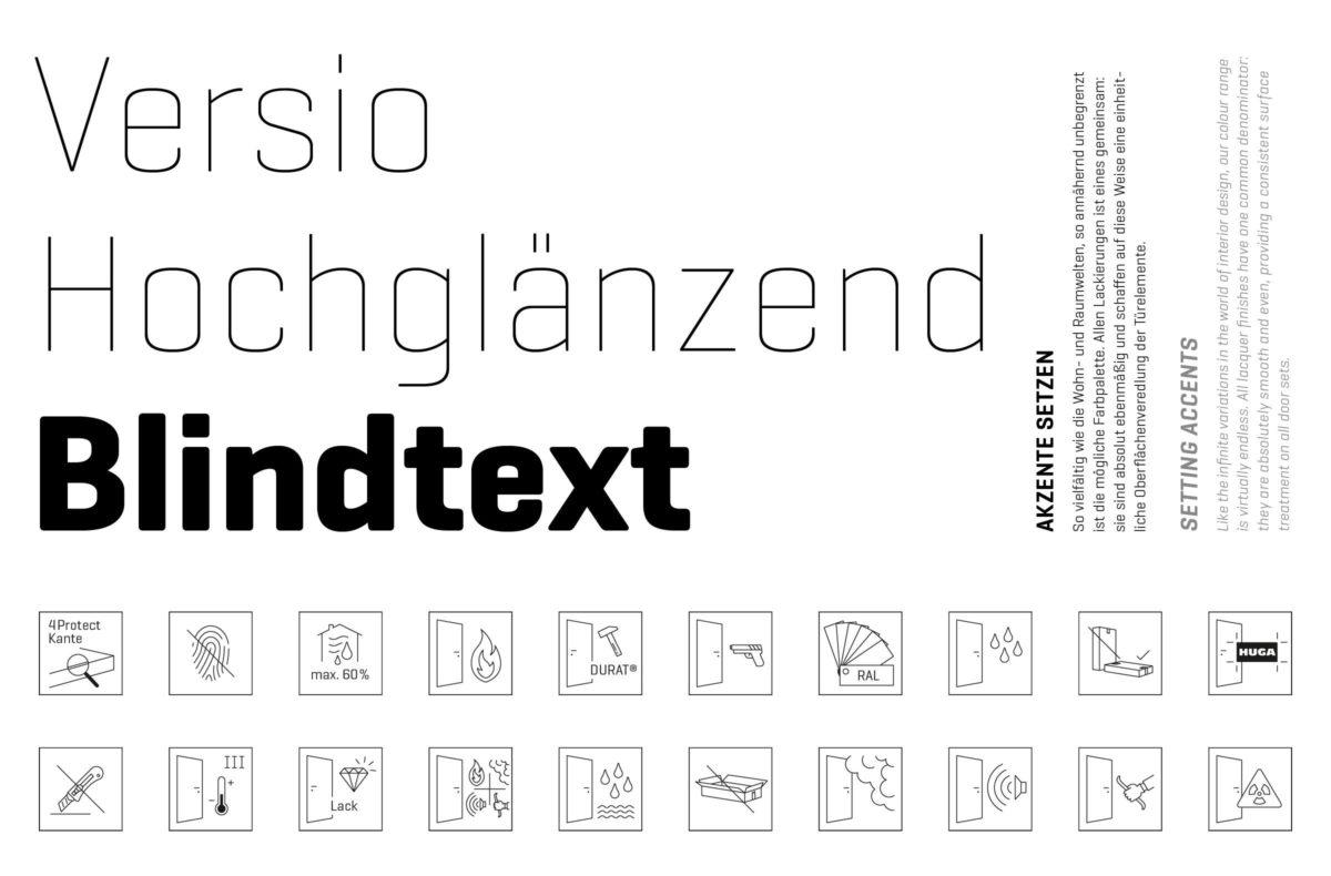 HUGA Holztüren Grafikdesign, Typografie (Geogrotesque Font) und Icons.